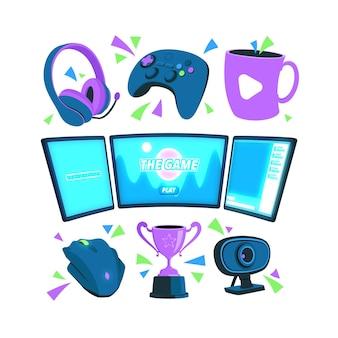 Pacote de elementos de conceito de streamer de jogo plano orgânico