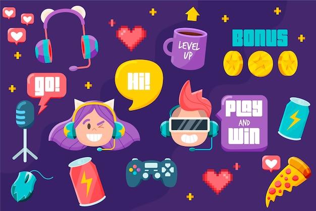 Pacote de elementos de conceito de streamer de jogo