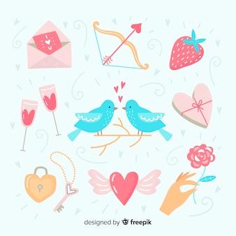 Pacote de elementos de dia dos namorados mão desenhada