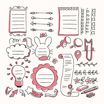 Pacote de elementos de diário com marcadores desenhados à mão