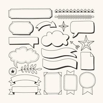 Pacote de elementos de diário com marcadores desenhados