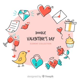 Pacote de elementos de doodle dos namorados
