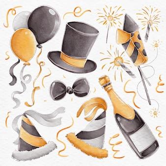Pacote de elementos de festa em aquarela de ano novo