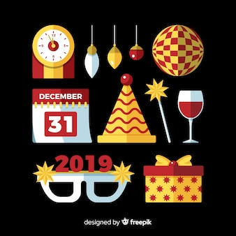 Pacote de elementos de festa plana de ano novo