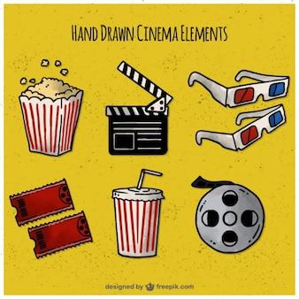 Pacote de elementos de filmes desenhados mão