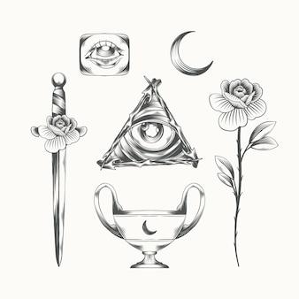 Pacote de elementos de gravura boho