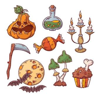 Pacote de elementos de halloween de mão desenhada