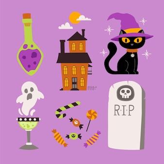 Pacote de elementos de halloween desenhados à mão