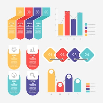 Pacote de elementos de infográfico de design plano