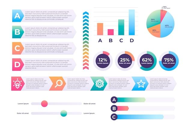 Pacote de elementos de infográfico de gradiente