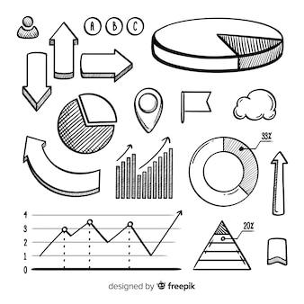 Pacote de elementos de infográfico desenhado de mão