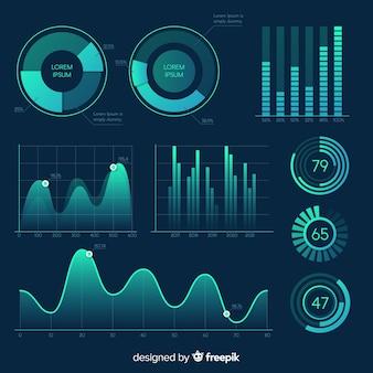Pacote de elementos de infográfico gradiente