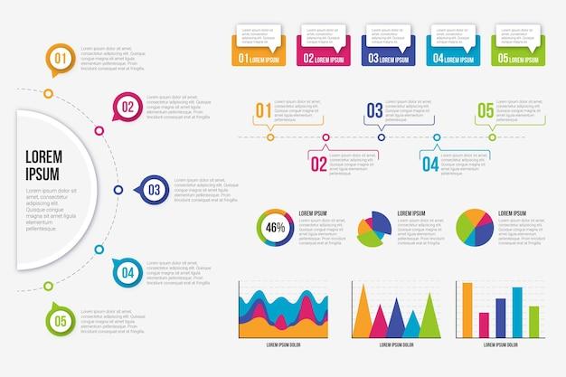 Pacote de elementos de infográfico plano