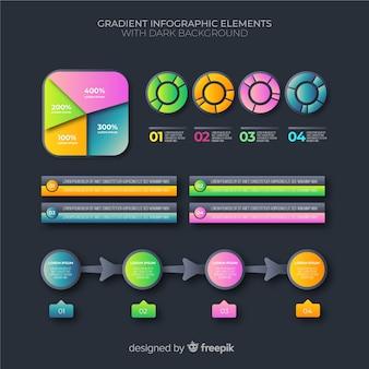 Pacote de elementos de infográficos de negócios gradiente