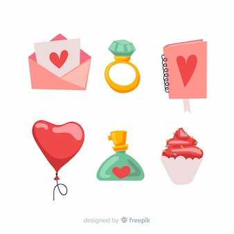 Pacote de elementos de mão desenhada dos namorados
