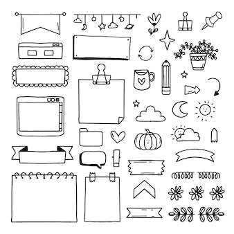 Pacote de elementos de marcador de diário