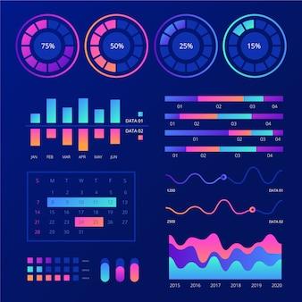 Pacote de elementos de modelo de infográfico de painel
