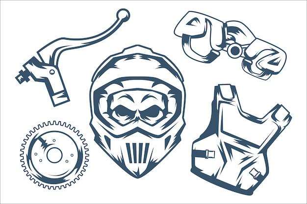 Pacote de elementos de motocross retrô