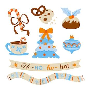 Pacote de elementos de natal desenhado à mão