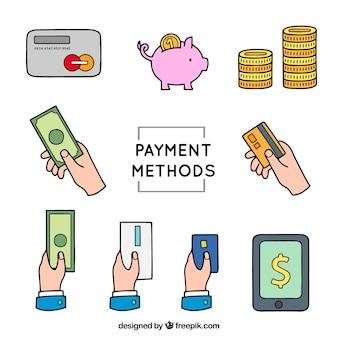 Pacote de elementos de pagamento desenhados à mão