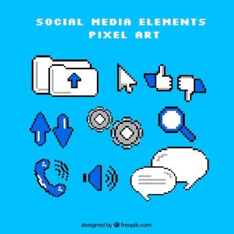 Pacote de elementos de redes sociais no estilo pixel art