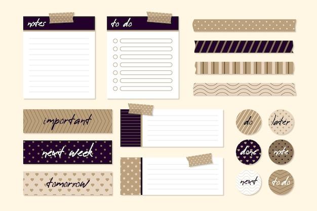 Pacote de elementos de scrapbook de planejamento