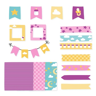 Pacote de elementos de scrapbook para chá de bebê