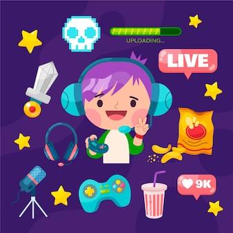 Pacote de elementos de streamer de jogo