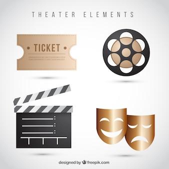 Pacote de elementos de teatro realistas