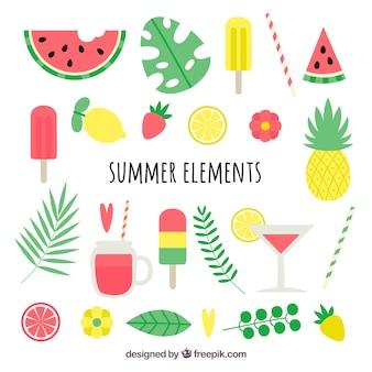 Pacote de elementos de verão coloridos