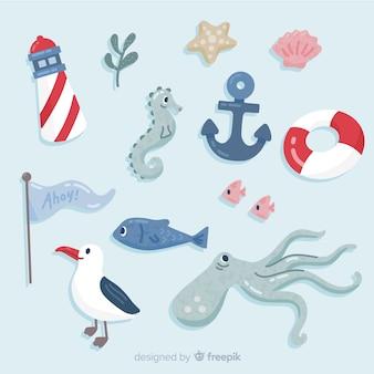 Pacote de elementos de vida marinha desenhada de mão