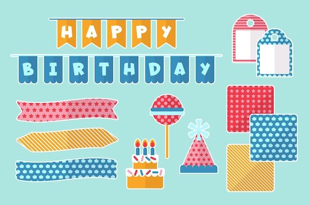 Pacote de elementos decorativos de álbum de recortes de aniversário