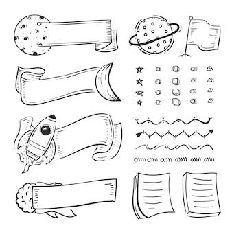 Pacote de elementos desenhados à mão para diários com marcadores