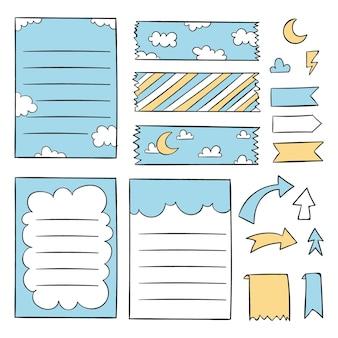 Pacote de elementos desenhados com marcadores