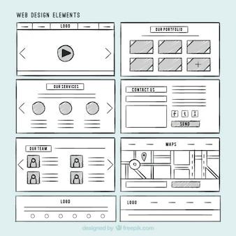Pacote de elementos desenhados mão do web site