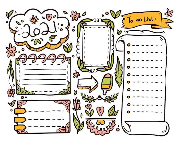 Pacote de elementos desenhados para diários com marcadores