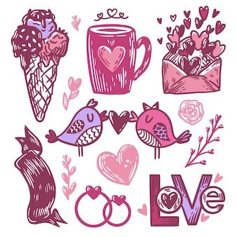 Pacote de elementos desenhados para o dia dos namorados