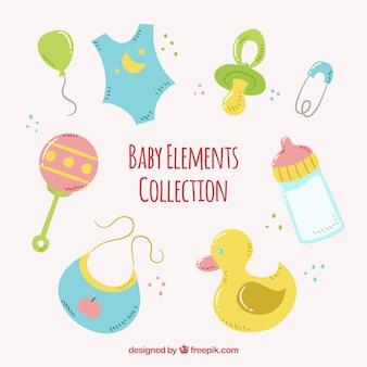 Pacote de elementos do bebê