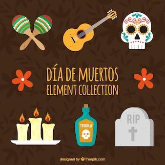 Pacote de elementos do dia das mortes