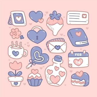 Pacote de elementos do dia dos namorados desenhado à mão