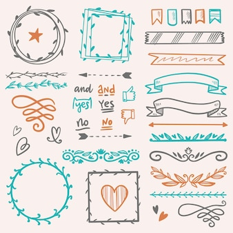 Pacote de elementos do diário com marcadores desenhados à mão