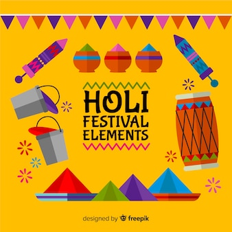 Pacote de elementos do festival de holi plana