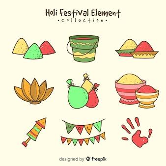 Pacote de elementos do festival de holi