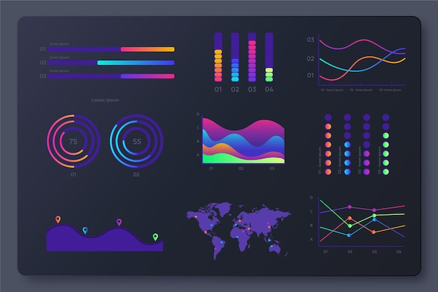 Pacote de elementos do painel de infográfico de gradiente