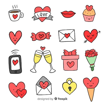 Pacote de elementos doodle dos namorados