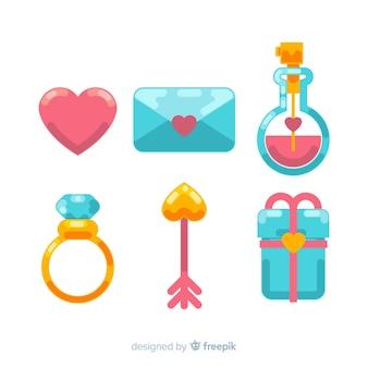 Pacote de elementos dos namorados