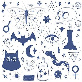 Pacote de elementos esotéricos desenhados à mão