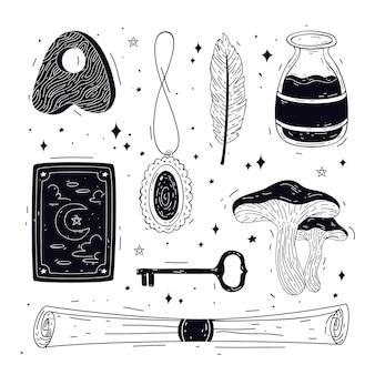 Pacote de elementos esotéricos em preto e branco
