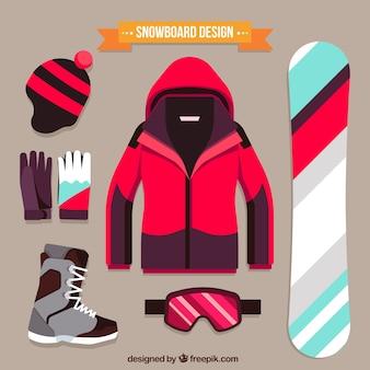 Pacote de elementos esportivos snowboard