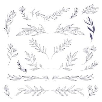 Pacote de elementos florais desenhados à mão